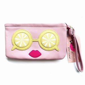 Betsey Johnson Lemon Eyes Pink Wristlet Pouch NWT
